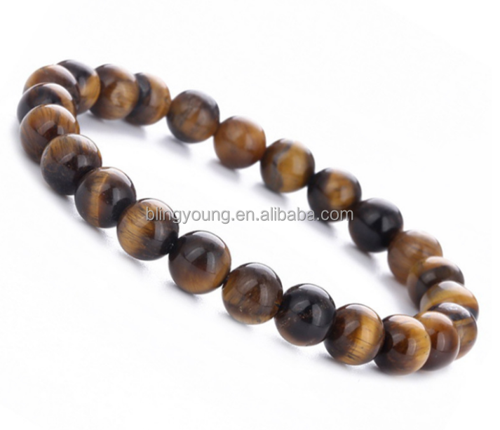 Fashion jewelry men and women natural Tiger eye gemstone bead stretch bracelets