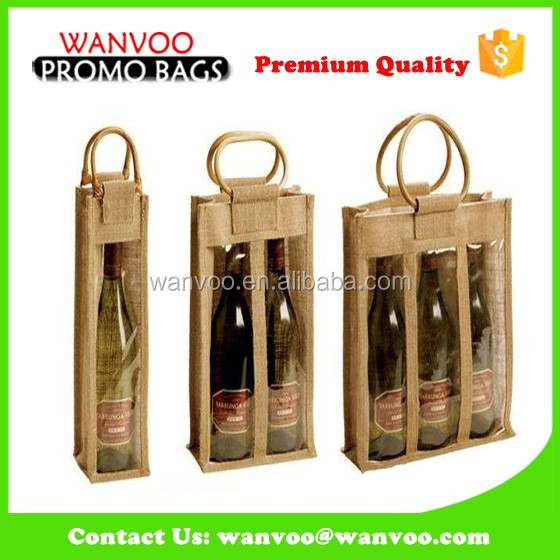 tie wine bag Christmas gift wine packaging jute bag customise