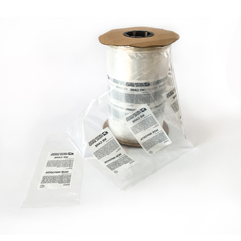 Pre-opened and perforated poly bags on rolls for auto packing on the machine