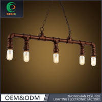 E27*5 large size 5 head Vintage hanging light industrial water pipe pendant lamp