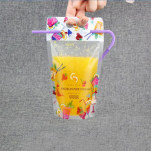 Clear Stand-up Beverage Drink Coffee Plastic Packaging Bag Resealable Zip Lock Juice Storage Pouch Bag With Straw