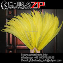 ZPDECOR Wholesale 50-55cm Choosed Quality Dyed Yellow Silver Pheasant Tail Feathers for Costumes Design