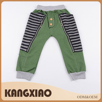 Custom made fashion casual zipper children cotton pants