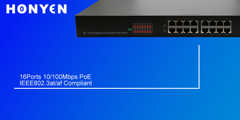 16 ports PoE with 2 gigabit ports + 2 Fiber ports L2 SNMP POE switch HY-1220G