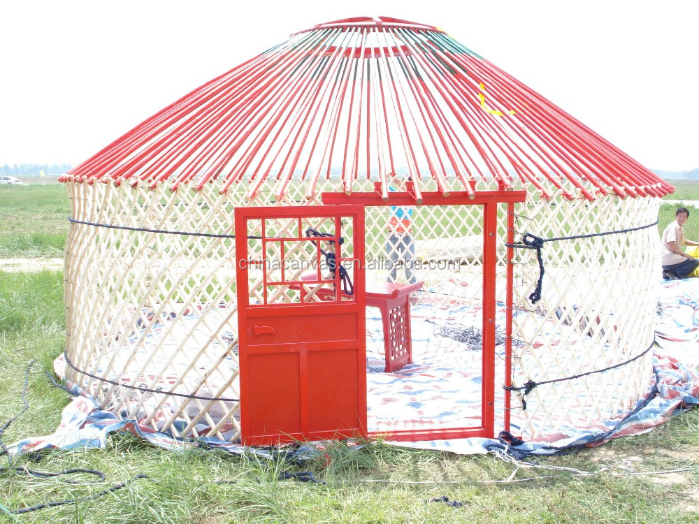 White color mongolian yurt tent with red pattern design for A frame canvas tents for sale
