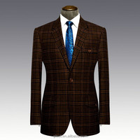 50% wool 50% polyester Notch lapel one buttons dark brown checks blazers for men
