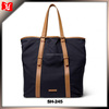 Canvas men tote shoulder bag with leather accents