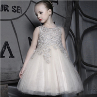 Fashion Crystals Lace Girl Dresses Princess One Piece Girl Party Dress
