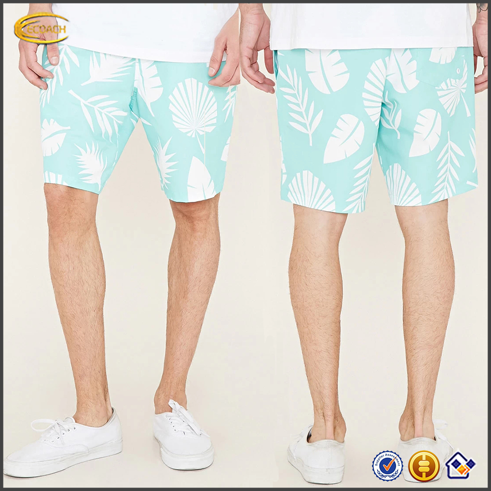 Direct Manufacturer 2016 New allover palm leaf print swimwear custom design men's swimming trunks wholesale hot short for beach