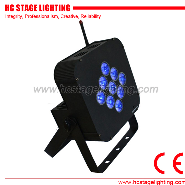 9x10w stage slim par rgbwa color changing wireless dmx led par