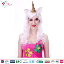 Styler Brand china wig supplier white long synthetic hair halloween unicorn wig