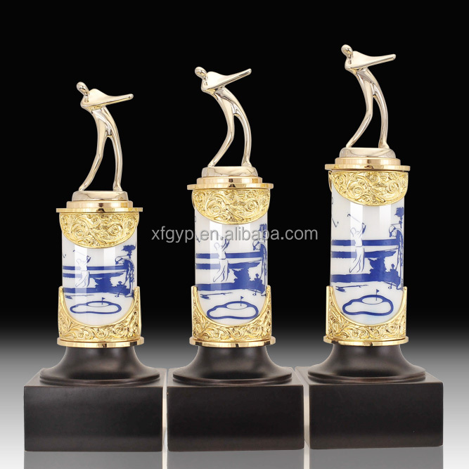 unique high quality souvenir crystal golf trophy, golf souvenir