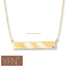 Bar Necklace Horizontal Bar Pendant, Gold Name Bar Pendant Sterling Silver