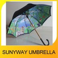 Manual Open Wooden Shaft Two Layer Umbrella