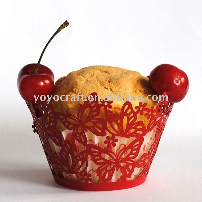 "wedding supply laser cut filigree cupcake wrapper""dancing butterly"" for wholesale and retail"