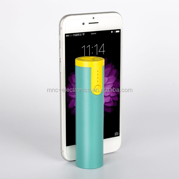 Promotional giveaways customized logo printing cylinder shape power bank 2600mAh with flash light