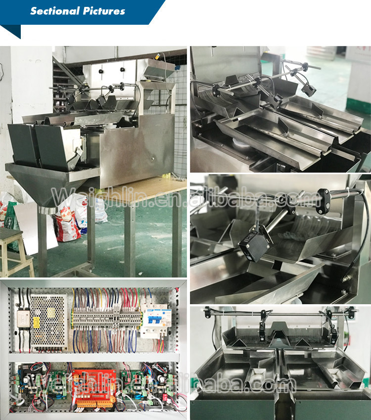 Automatic filling packing machine two heads linear weigher for packing hardware plastic parts screws cherry tomatoes
