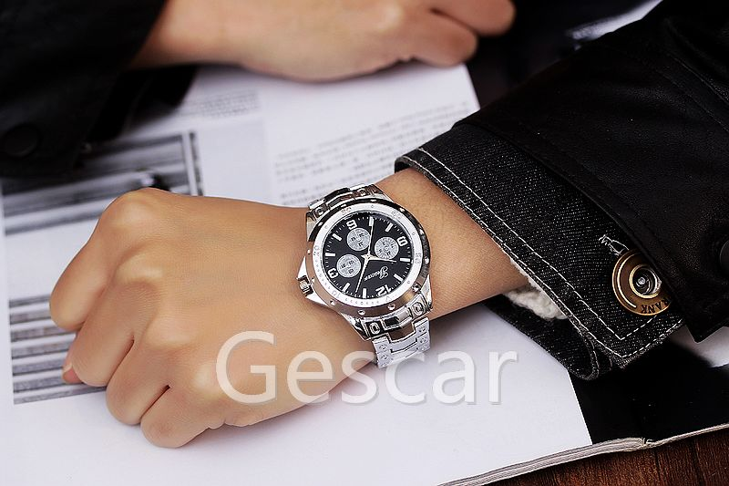 699 Online sale Gescar Watch Three Eyes Full Stainless Steel Man casual wrist watch