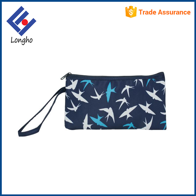 Design your own fashion purse with phone holder, flying bird printed slim lightweight new stylish wallet with lanyard