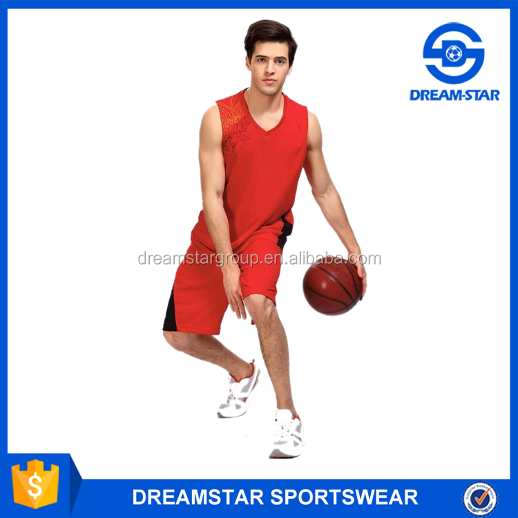 2016 Best Selling Low Price Basketball Clothes For Red