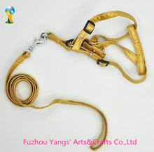 Wholesale gold color leather dog leash with dog collar