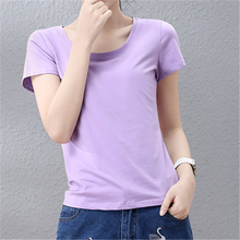 Custom Promotional Ladies T Shirt no Printing 220 GSM Cotton Plain Round Neck T Shirt