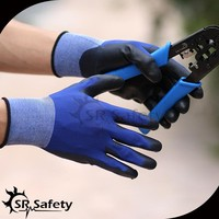 SRSAFETY 18 gauge navy blue smart finger touch gloves pu coated gloves en388 4131