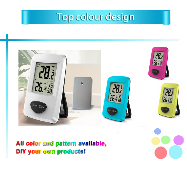 Sunny Hot Sale 433MHZ Wireless Indoor&Outdoor Temperature Room Digital Thermometer With Time Display