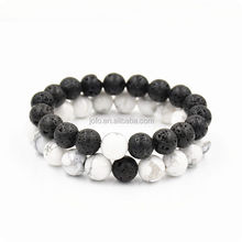 2018 Hot Sell Balance Bracelets New Trendy Energy Spiritural Healthy Men's Lava Stone Howlite 8mm Distance Bead Bracelets