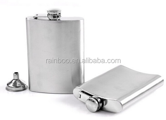 Hot selling Logo printing 8oz flat Liquor Alcohol portable stainless steel flask hip