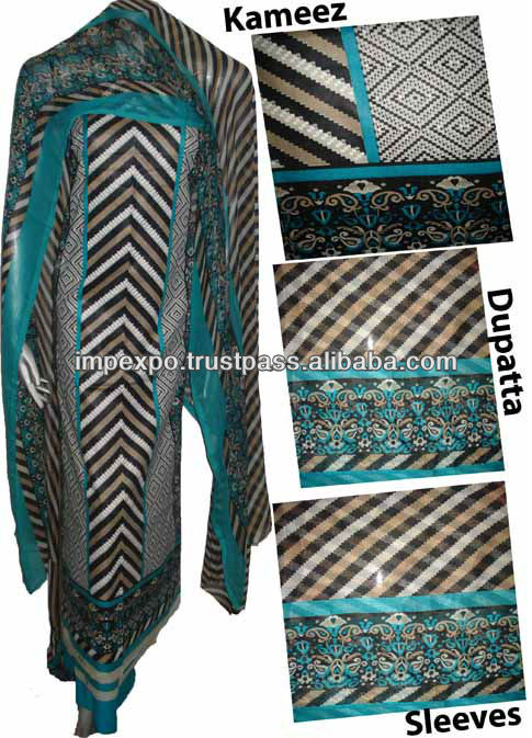 Ladies Designer Lawn Suit with Chifoon Dubatta & with Chifoon Sleeve