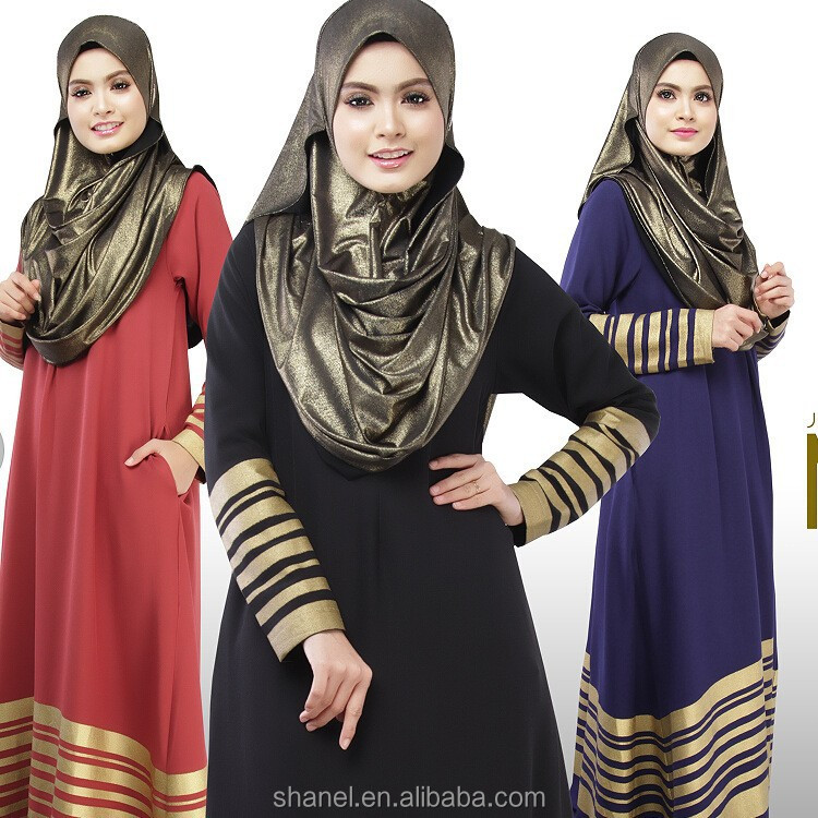 GOLD stripe Muslim Women Abaya Islamic loose long sleeve maxi dress Fashion casual Kaftan Malaysia Indonesia Abaya
