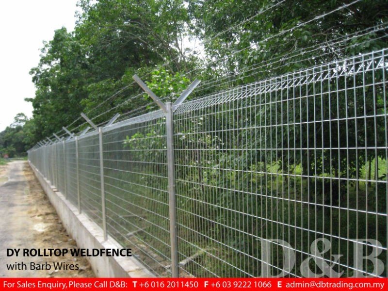 DY Rolltop Galvanised Weld fence with Barb wire