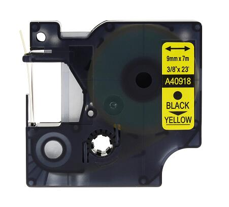 Compatible DYMO <strong>D1</strong> Label Tape 9mm Black on Yellow 40918