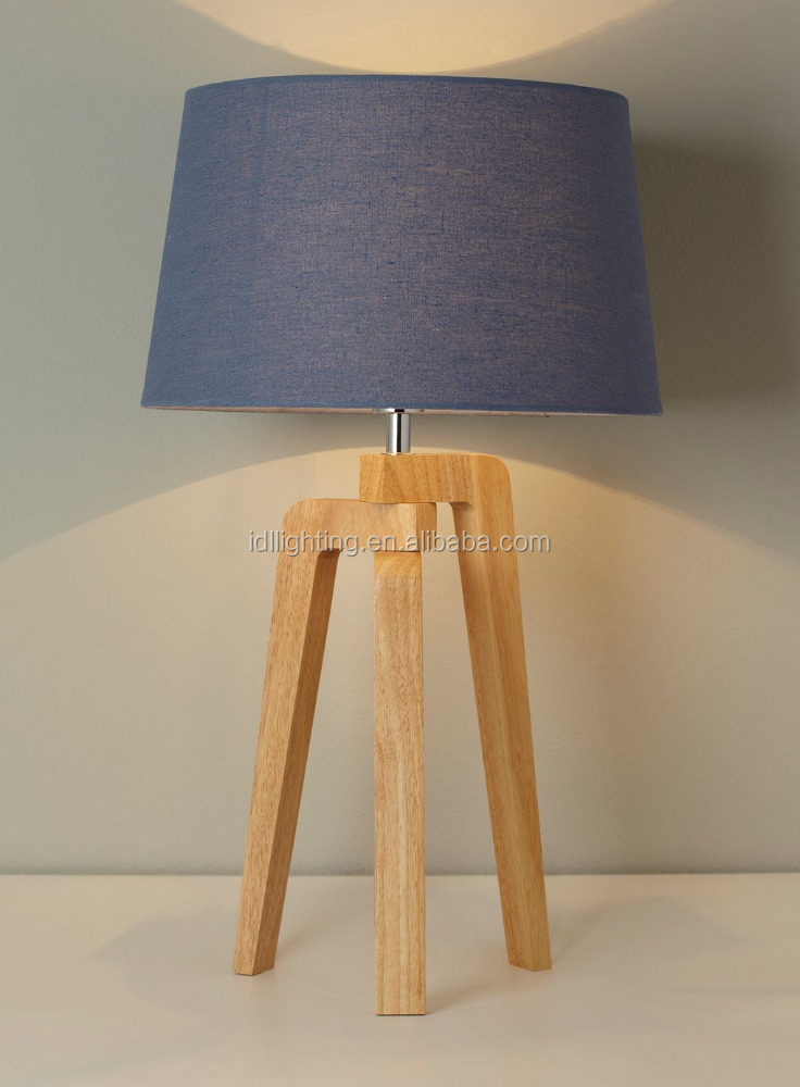 New natural Wooden tripod base table lamp with beige round fabric shade