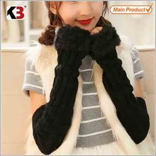 2015 fashion knitted girl gloves/lovely cute women gloves/pigskin dress gloves