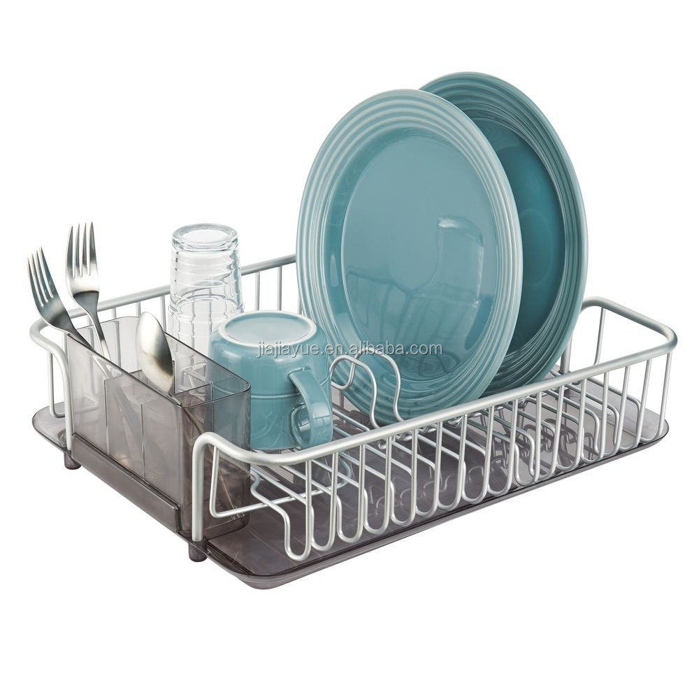 Aluminum Large Capacity Kitchen Dish Drainer Rack and Drip Tray for Drying Glasses,Silverware,Bowls,Plates
