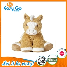 LE stuffed soft plush sitting horse toy with brown color