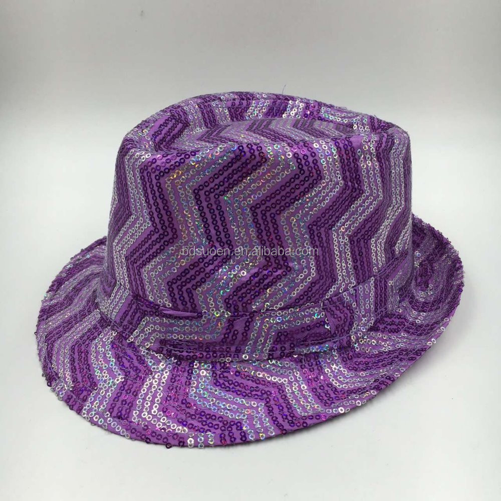 Sequin Fedora Party Hats Colour Purple with Cheap Price
