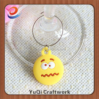 Wholesale funny emoticon soft pvc wine charms floating charm