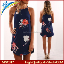2017 Hot Sale Sexy Summer Sleeveless Slip Women Dress printed mini clothes