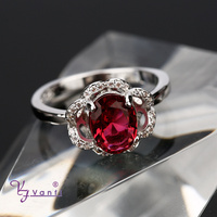 vanfi jewelry cheap fake wedding designer red crystal silver rings