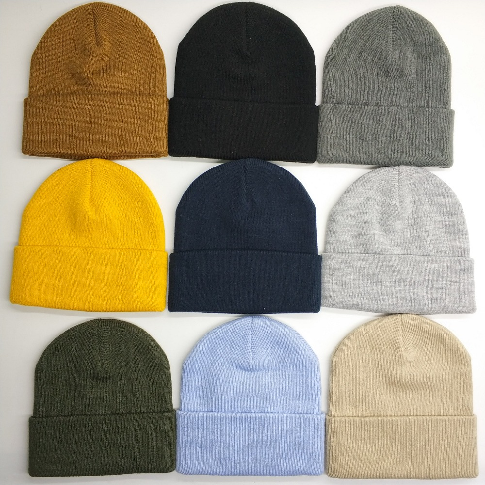 Hot selling fashion beanie cap sport knitted hat custom winter acrylic cuff beanie hat cap
