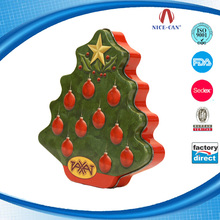 Gift tree shaped design metal candy box Wholesale cheap tree shape toy promotion christmas tin box