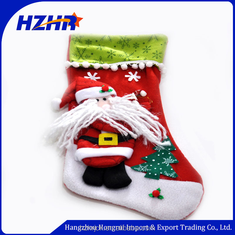 High quality Christmas ornaments Santa Claus hanging stockings Xmas kids gift and decoration