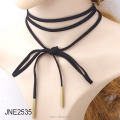 Velvet Wrapped Fine Bow Choker Necklace