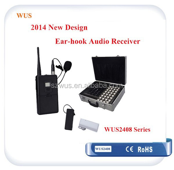 Mini Multilingual tour guide system/ear-hook audio receivers for listening with 8-95 channel WUS2408