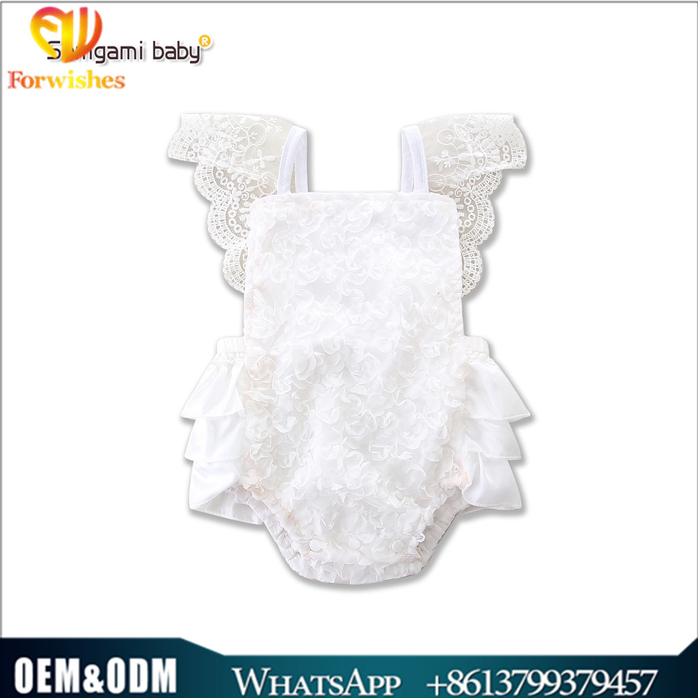 Ins news toddler clothing summer white lace climb jumpsuits baby christening baptism dress ruffle one pcs bodysuit onesie