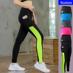 Sexy Girls Pocket Gym Long Yoga Pants Sports Trousers Women Compression Running Pants Skinny Fitness Tight Leggings