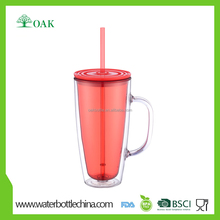 2016 best selling products wholesale 24oz double wall plastic juice tumbler with handle